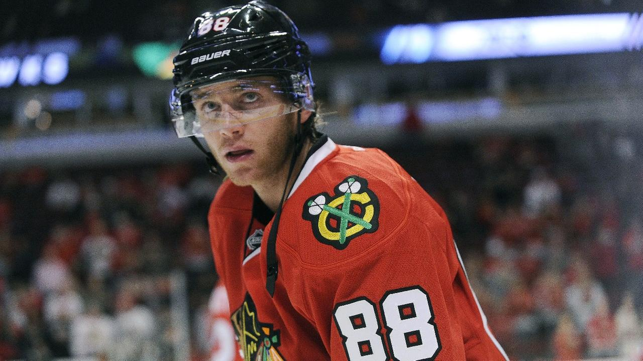 Chicago Blackhawks right wing Patrick Kane (88) warms up before a pre-season NHL hockey game against the Detroit Red Wings in Chicago, Tuesday, Sept. 22, 2015.