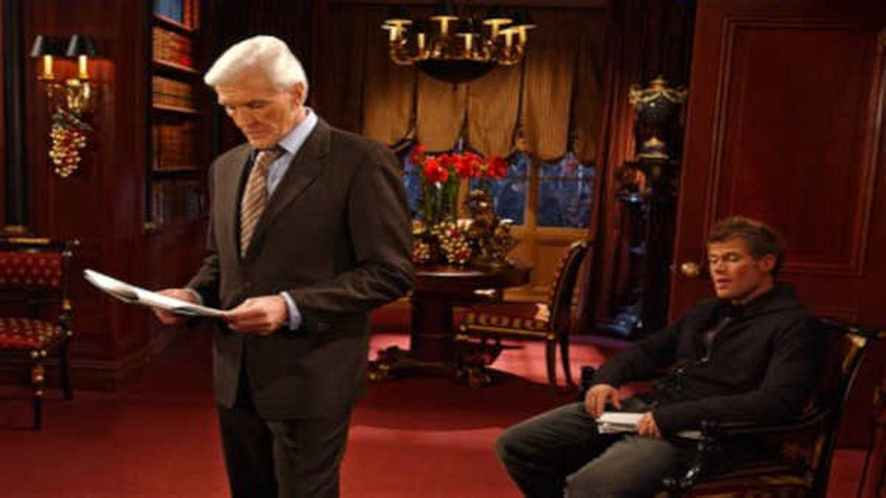 David Canary, left, who plays the role of both Adam and Stuart Chandler and Jacob Young, who plays the role of JR Chandler in the ABC drama, All My Children, block a scene.