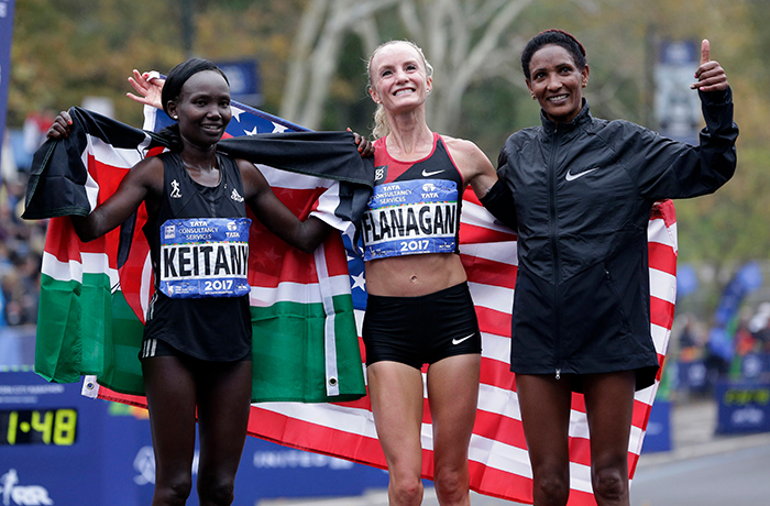 <div class='meta'><div class='origin-logo' data-origin='AP'></div><span class='caption-text' data-credit=''>From left, second place Mary Keitany of Kenya, first place Shalane Flanagan of the United States and third place Mamitu Daska of Ethiopia. (AP Photo/Seth Wenig)</span></div>