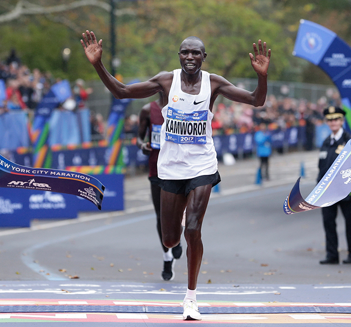 <div class='meta'><div class='origin-logo' data-origin='AP'></div><span class='caption-text' data-credit=''>Geoffrey Kamworor of Kenya crosses the finish line first in the men's division of the New York City Marathon in New York, Sunday, Nov. 5, 2017. (AP Photo/Seth Wenig)</span></div>