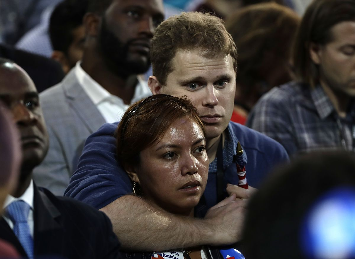 "<div class=""meta image-caption""><div class=""origin-logo origin-image ap""><span>AP</span></div><span class=""caption-text"">Supporters react to election results during Democratic presidential nominee Hillary Clinton's election night rally in the Jacob Javits Center glass enclosed lobby in New York. (AP Photo/Frank Franklin II)</span></div>"