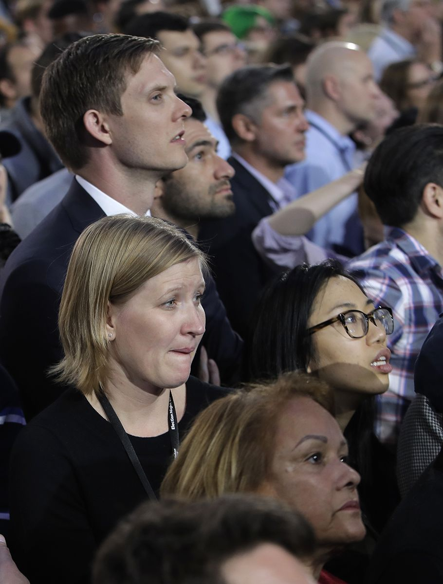 "<div class=""meta image-caption""><div class=""origin-logo origin-image ap""><span>AP</span></div><span class=""caption-text"">Supporters watch election results during Democratic presidential nominee Hillary Clinton's election night rally in the Jacob Javits Center glass enclosed lobby in New York. (AP Photo/Frank Franklin II)</span></div>"