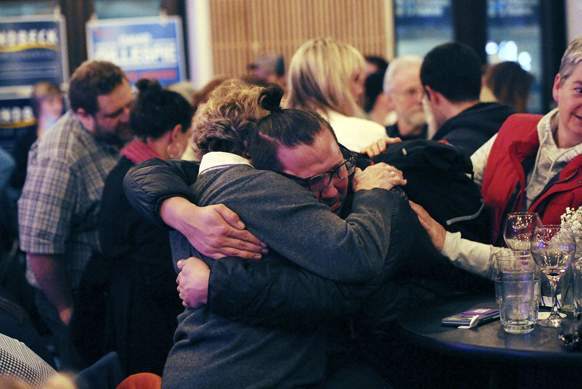 "<div class=""meta image-caption""><div class=""origin-logo origin-image ap""><span>AP</span></div><span class=""caption-text"">Hillary Clinton supporters Colleen Murphy, left, and David Clark hugs as they watch early returns Tuesday, Nov. 8, 2016 in Anchorage, Alaska. (AP Photo/Michael DInneen)</span></div>"