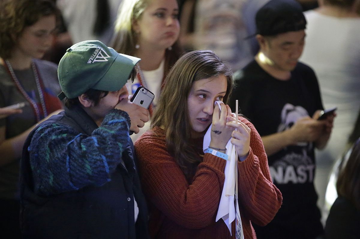 "<div class=""meta image-caption""><div class=""origin-logo origin-image ap""><span>AP</span></div><span class=""caption-text"">Wellesley College students and supporters of Hillary Clinton wipe away tears as they watch televised election returns during a watch party on the campus of Wellesley College. (AP Photo/Steven Senne)</span></div>"