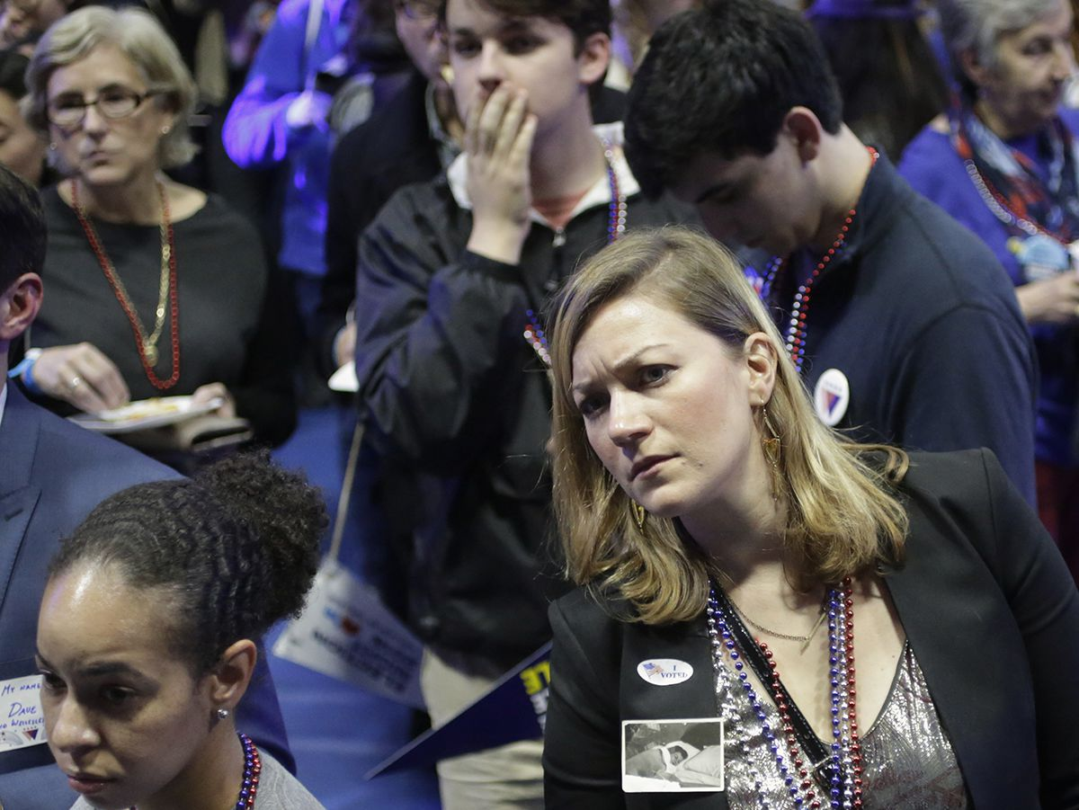 <div class='meta'><div class='origin-logo' data-origin='AP'></div><span class='caption-text' data-credit='AP Photo/Steven Senne'>Democratic presidential nominee, Hillary Clinton supporter Natalie Souza, of Medford, Mass., reacts while watching televised election returns during a watch party.</span></div>