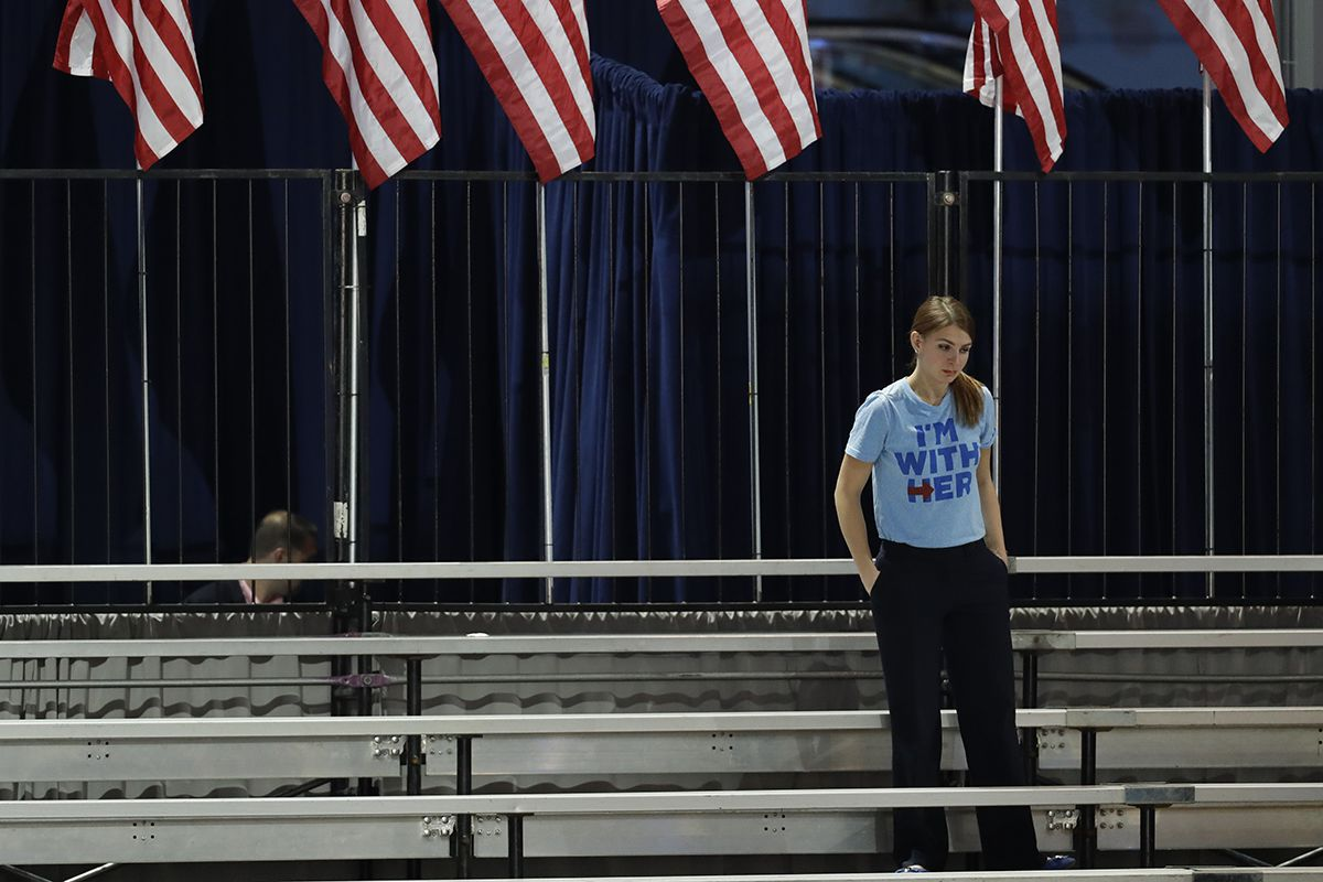 <div class='meta'><div class='origin-logo' data-origin='AP'></div><span class='caption-text' data-credit='AP Photo/Patrick Semansky'>A Clinton supporter stands alone in the bleachers after Democratic presidential nominee Hillary Clinton's election night rally was canceled at the Jacob Javits Center in New York.</span></div>