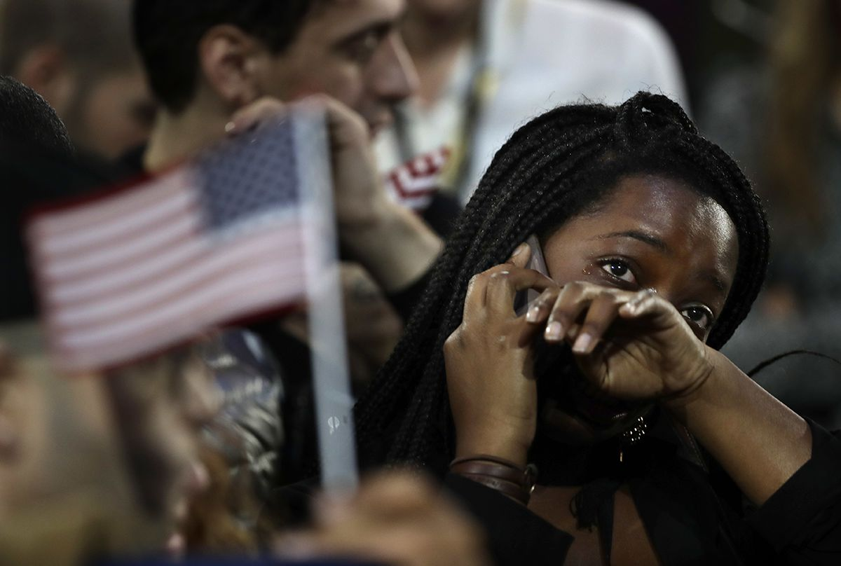 "<div class=""meta image-caption""><div class=""origin-logo origin-image ap""><span>AP</span></div><span class=""caption-text"">A woman weeps as election results are reported during Democratic presidential nominee Hillary Clinton's election night rally in the Jacob Javits Center. (AP Photo/Frank Franklin II)</span></div>"
