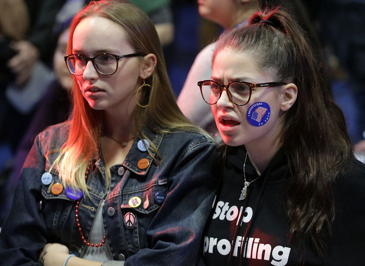 "<div class=""meta image-caption""><div class=""origin-logo origin-image ap""><span>AP</span></div><span class=""caption-text"">Emma Finnamore, of Maplewood, N.J., left, and Rayah Naji, of Boston, right, react while watching televised election returns during a watch party at Wellesley College. (AP Photo/Steven Senne)</span></div>"