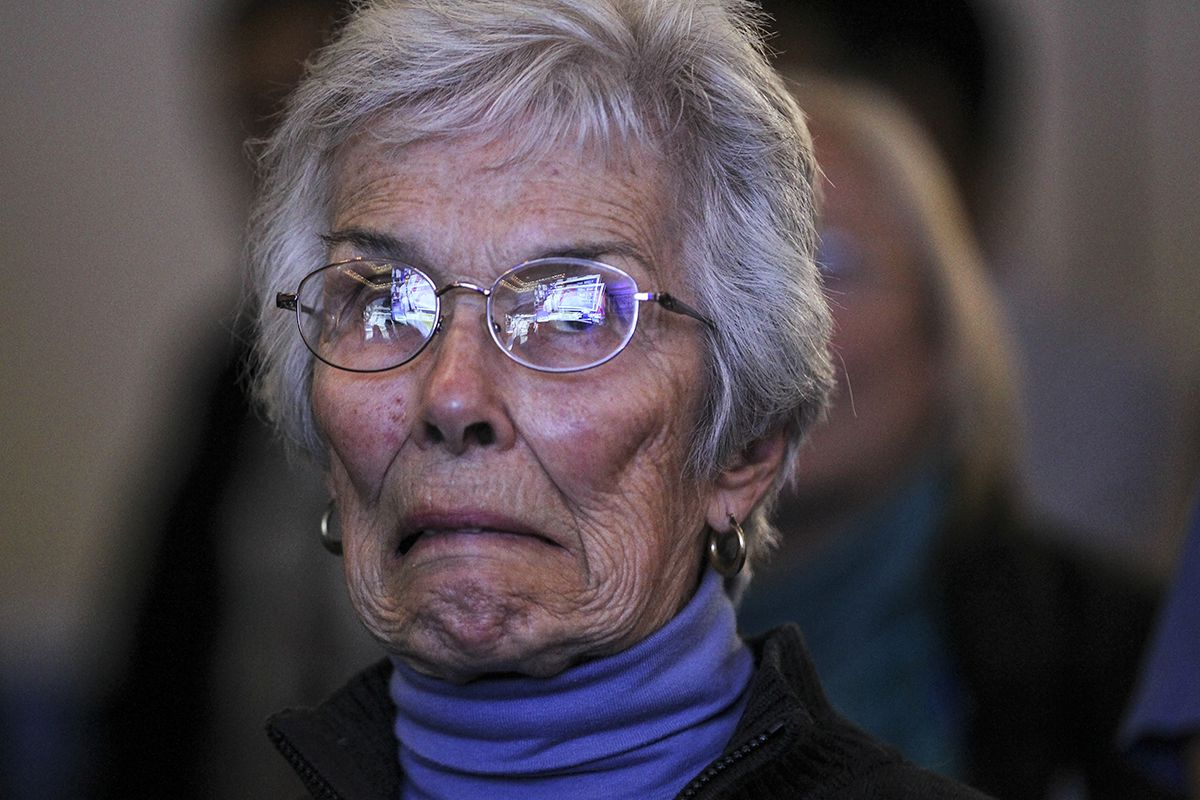<div class='meta'><div class='origin-logo' data-origin='AP'></div><span class='caption-text' data-credit='AP Photo/Cheryl Senter'>Pauline Angwin, 78, of Concord, N.H., reacts as tight race results start to roll in during a watch party for Democratic presidential candidate Hillary Clinton, Nov. 8, 2016.</span></div>