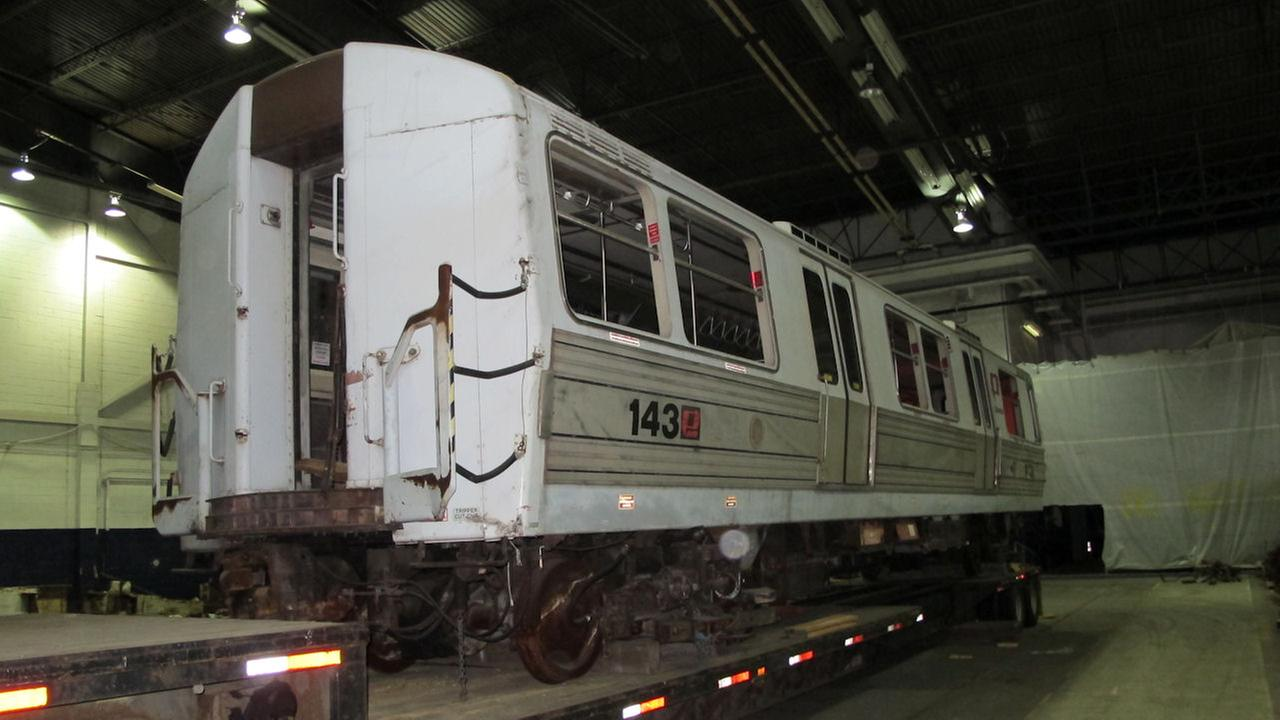 PATH train car no. 143 is one of only two surviving train cars from the World Trade Center collapse.