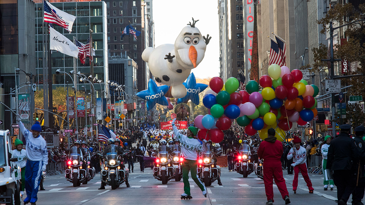 <div class='meta'><div class='origin-logo' data-origin='AP'></div><span class='caption-text' data-credit=''>The Olaf balloon floats down Sixth Avenue during the Thanksgiving Day parade in New York, Thursday, Nov. 23, 2017. (AP Photo/Mary Altaffer)</span></div>