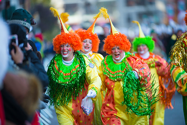 <div class='meta'><div class='origin-logo' data-origin='AP'></div><span class='caption-text' data-credit=''>Clowns interact with the crowd at the 91st Macy's Thanksgiving Day Parade on Thursday, Nov. 23, 2017, in New York. (Photo by Scott Roth/Invision/AP)</span></div>