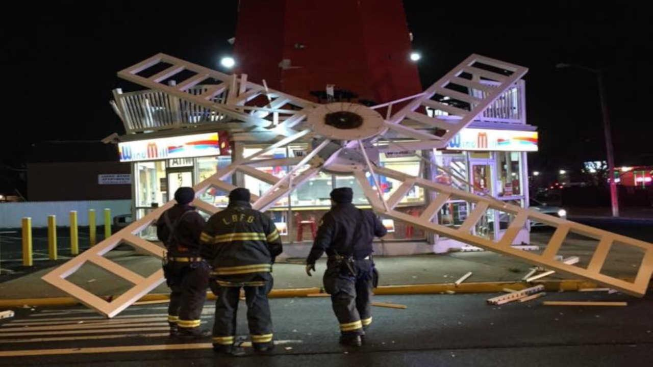 Large windmill blades fall off Long Branch 'Windmill' restaurant
