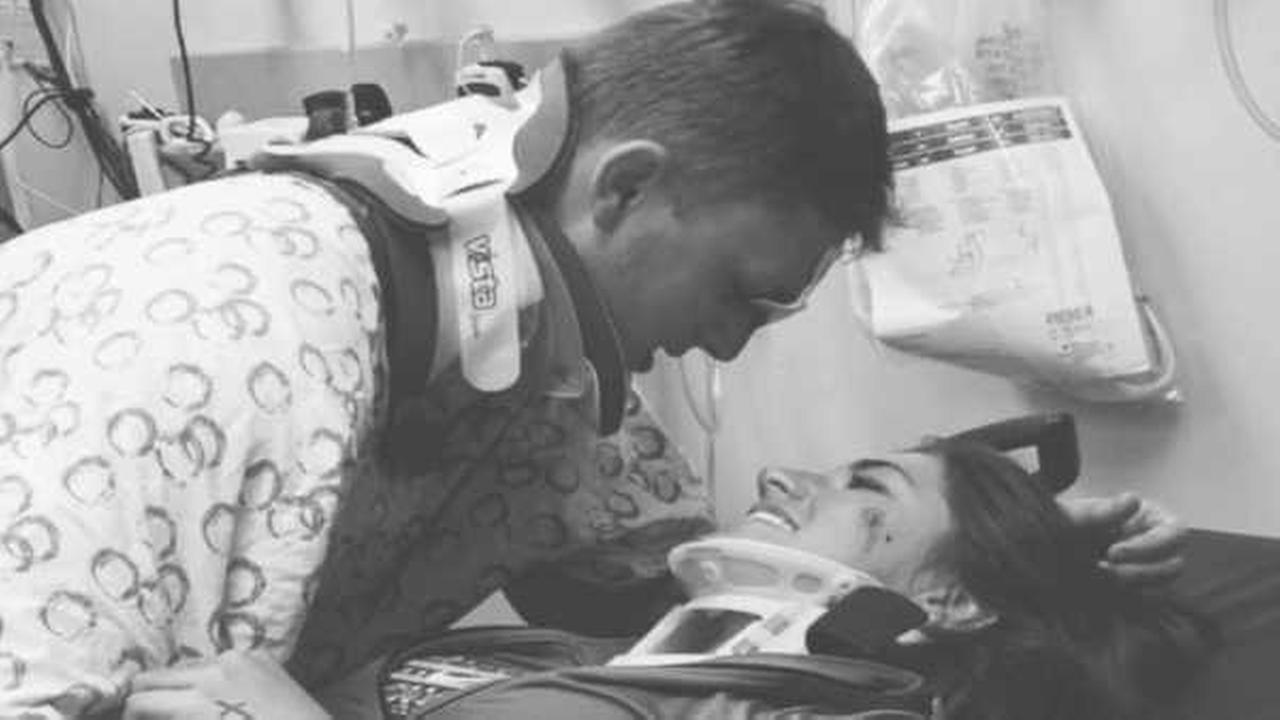 Touching photo of couple reconnecting after car crash goes viral