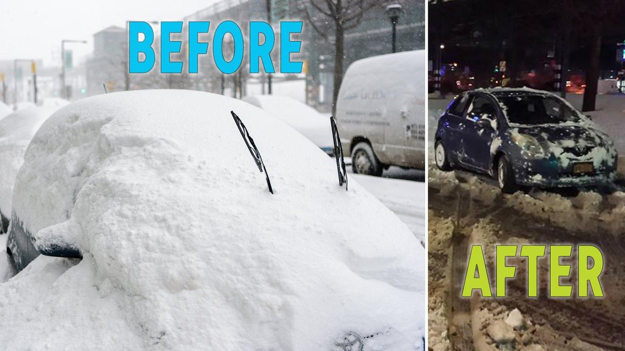 Guess how long it took to dig this car out after blizzard buries it in snow in Queens