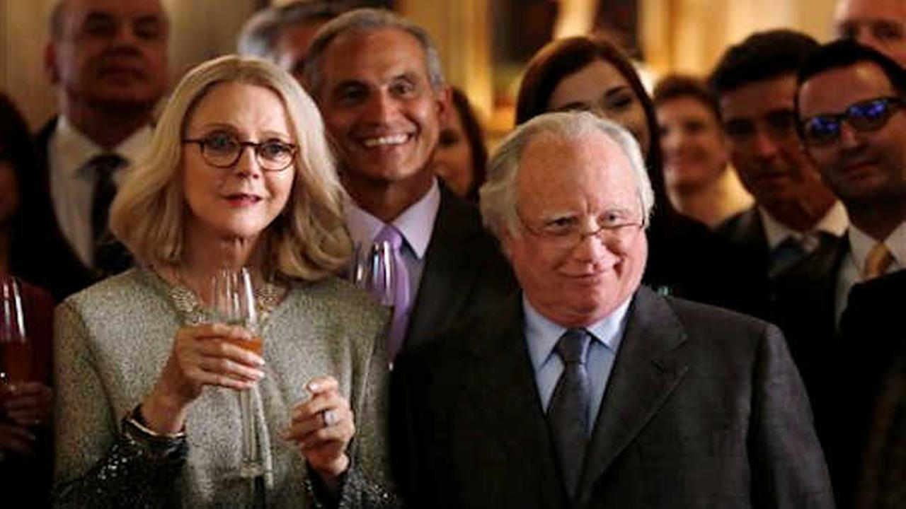 In this image released by ABC, Blythe Danner, left, and Richard Dreyfuss appear in the primetime miniseries Madoff. (PPatrick Harbron/ABC via AP)
