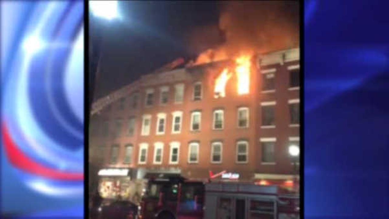 Firefighters battle fire in 4-story Hoboken building