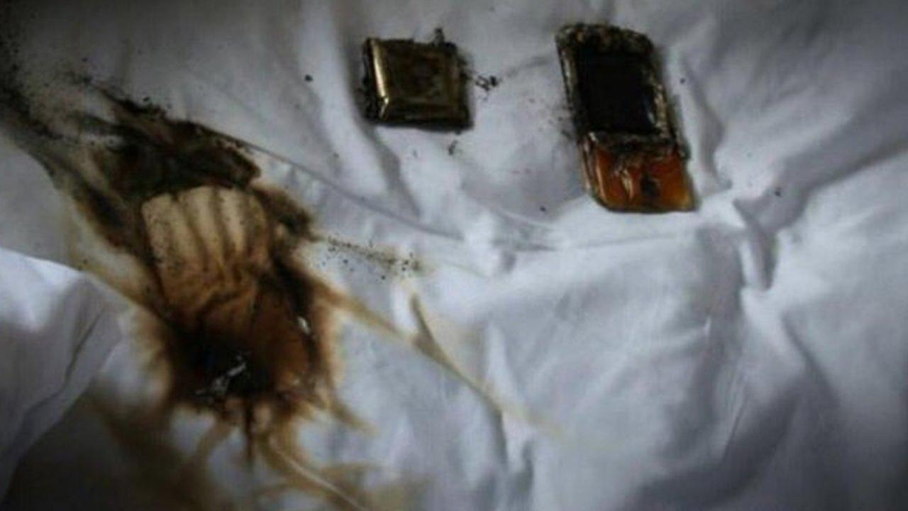 PHOTOS: Cell phone overheats, catches fire under pillow