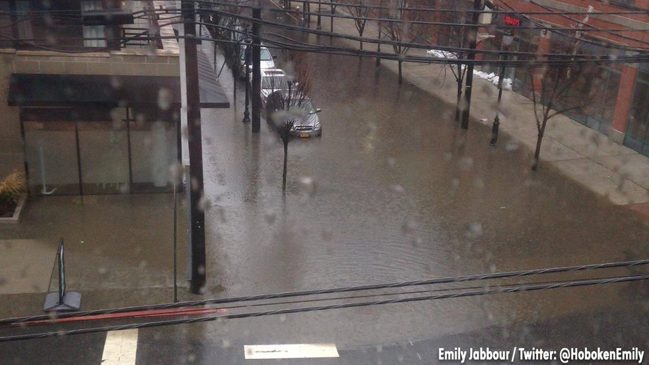 Flooding at the intersection of 9th and Madison in Hoboken.
