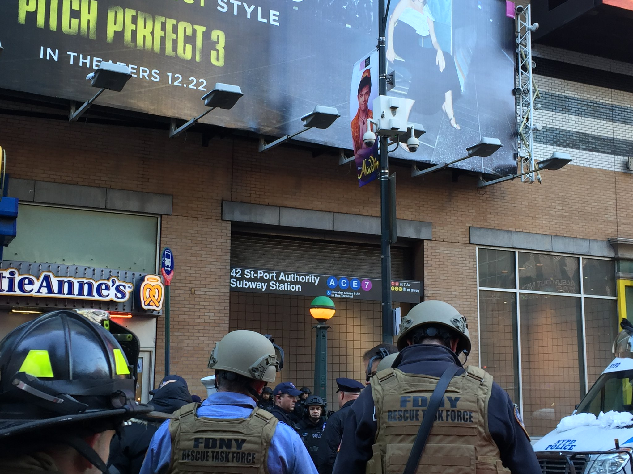 <div class='meta'><div class='origin-logo' data-origin='WABC'></div><span class='caption-text' data-credit='FDNY via Twitter'>Photos from the scene of a pipe bomb explosion at the Port Authority Bus Terminal in Manhattan, New York City.</span></div>
