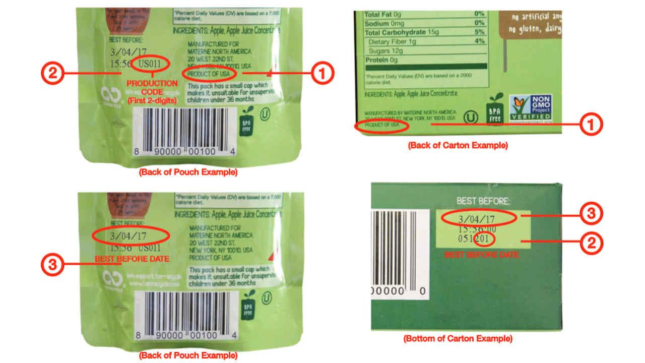 GoGo squeeZ recalls applesauce pouches due to food product residue