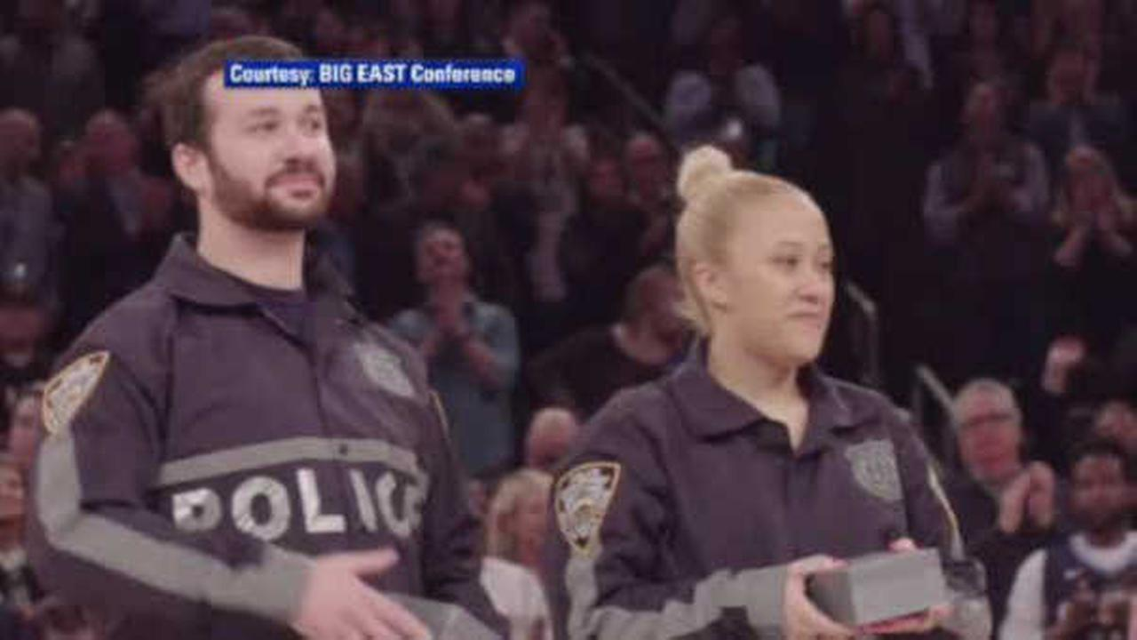 NYPD officers wounded in line of duty honored during Big East tournament