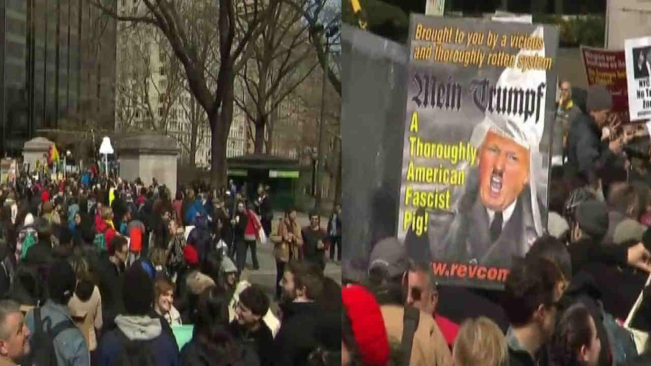 Anti-Trump protesters gather in New York