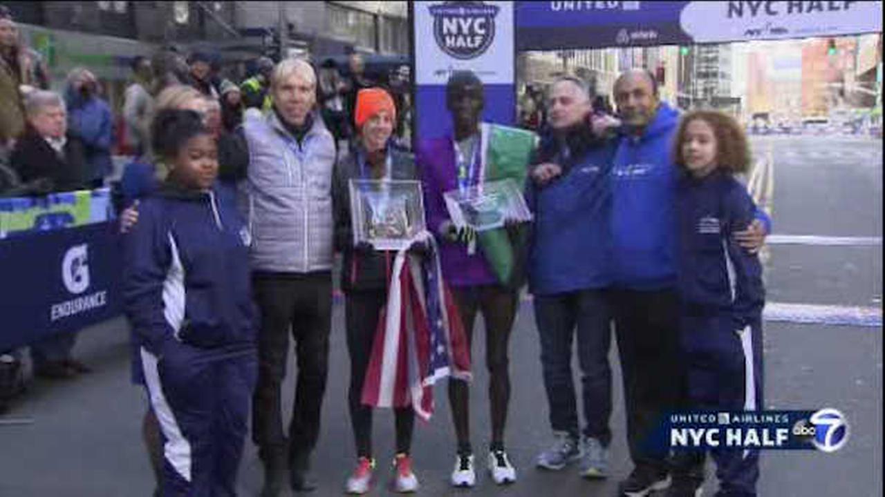 Stephen Sambu, Molly Huddle winners of United Airlines NYC Half Marathon