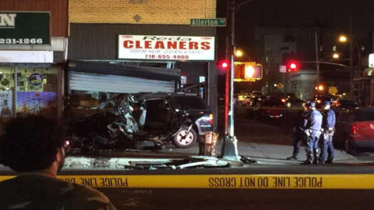 Driver killed after car careens into front of Bronx store
