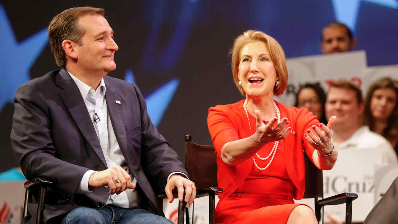 Carly Fiorina and Ted Cruz taping an interview with Sean Hannity during a campaign stop in Orlando, Fla., Friday, March 11, 2016