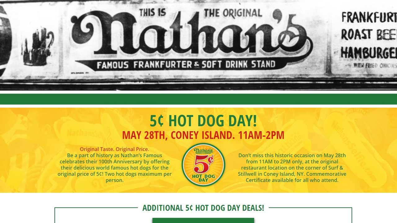 Nathan's Famous celebrates 100th anniversary with 5-cent hot dogs