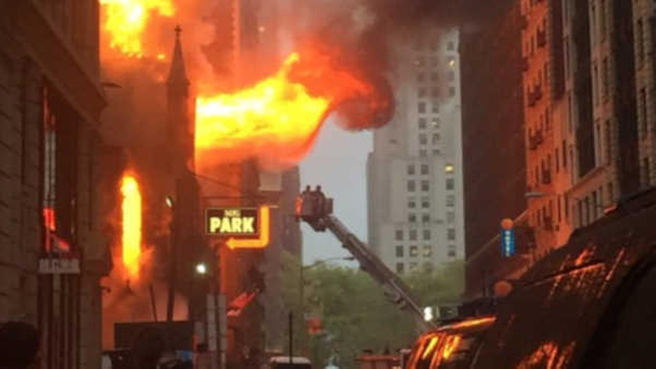 Massive fire engulfs church in NYC; no injuries have been reported