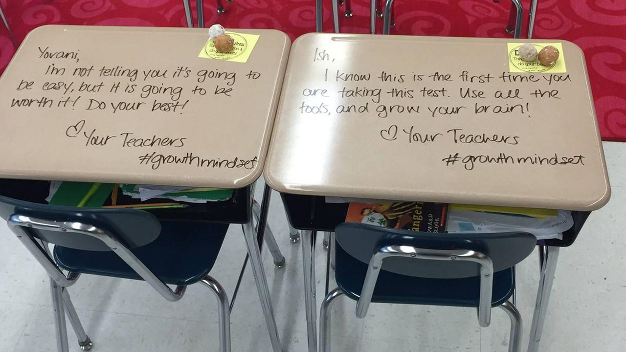 New Jersey teacher turns students' desks into letters of inspiration before Common Core tests