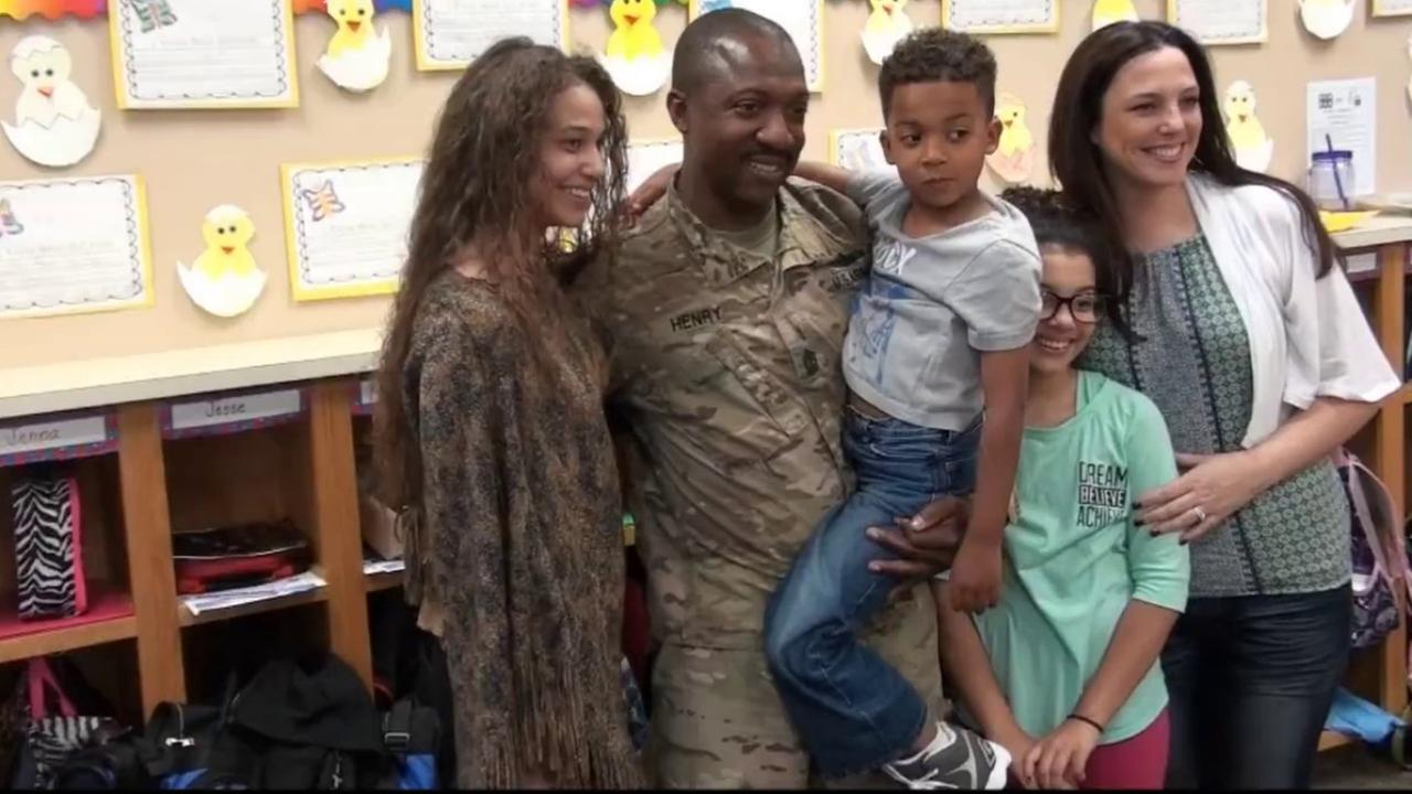 WATCH: Soldier home from Iraq surprises his three kids at school