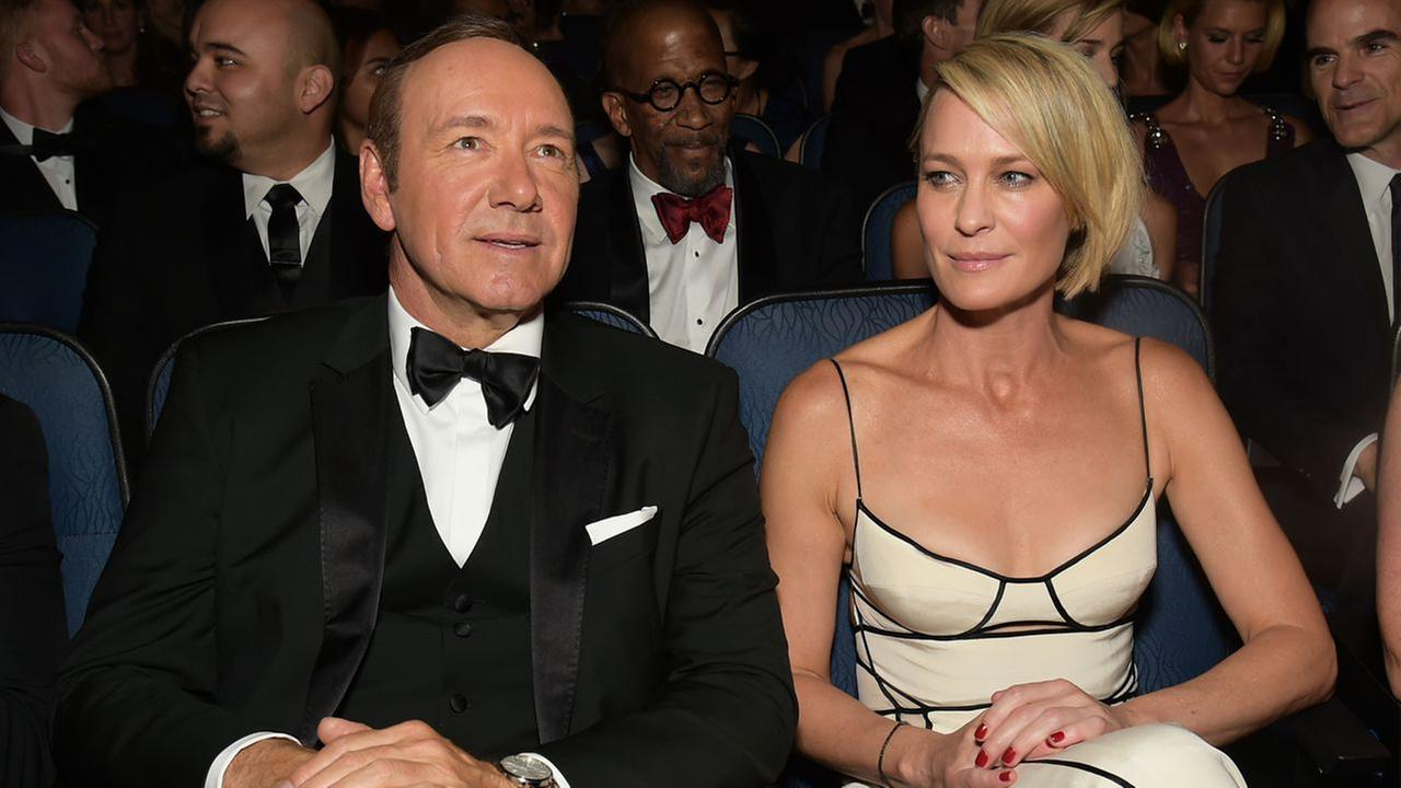 Kevin Spacey, left, and Robin Wright attend the 67th Primetime Emmy Awards on Sunday, Sept. 20, 2015, at the Microsoft Theater in Los Angeles.