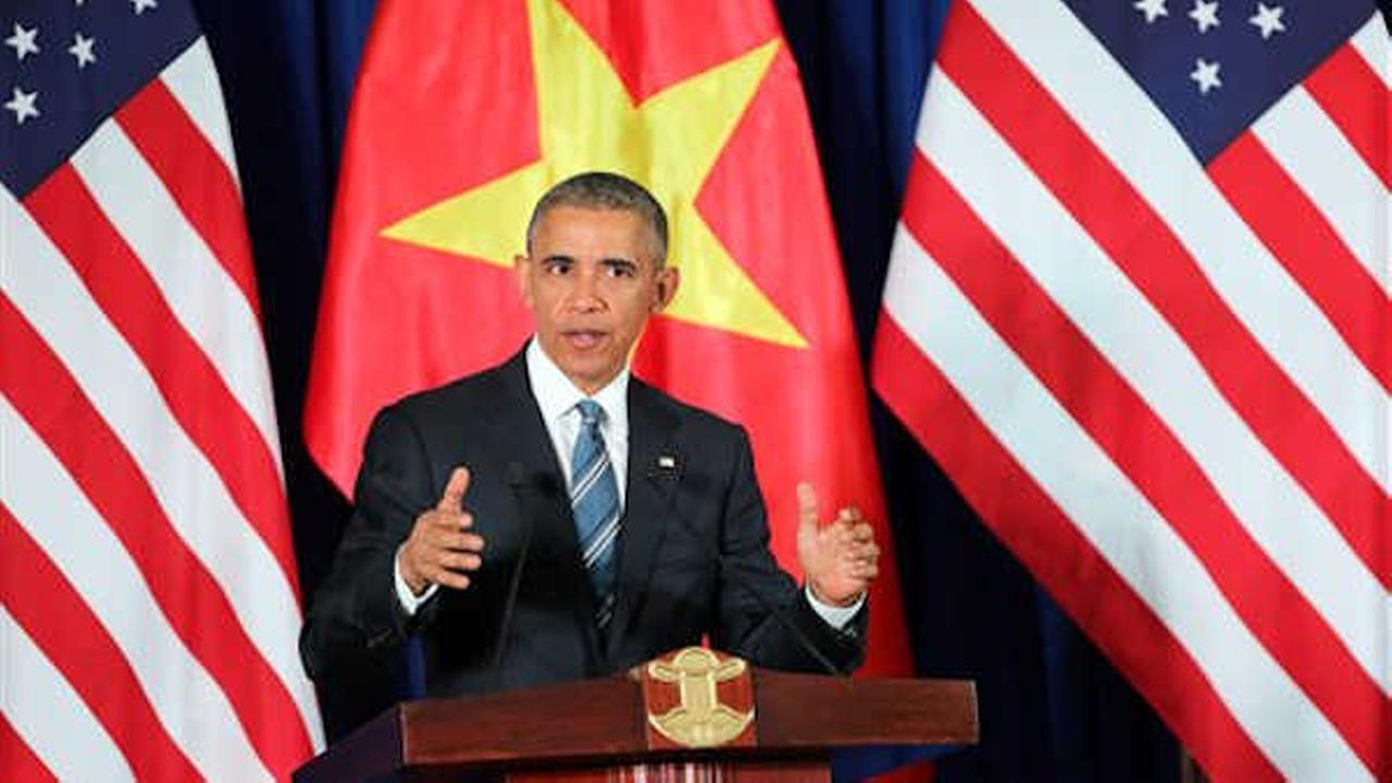 President Barack Obama delivers a speech during a press conference in Hanoi, Vietnam.   (Luong Thai Linh, Pool Photo via AP)