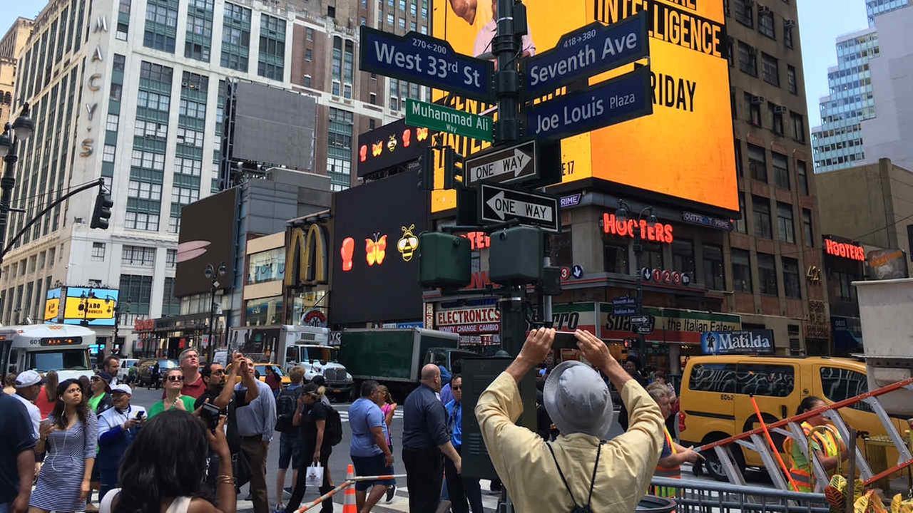 Street near Madison Square Gardent temporarily named Muhammad Ali Way