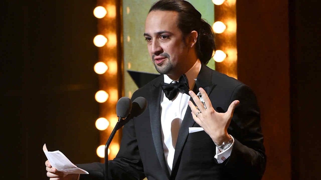 Lin-Manuel Miranda accepts the award for best original score for Hamilton at the Tony Awards at the Beacon Theatre on Sunday, June 12, 2016, in New York.