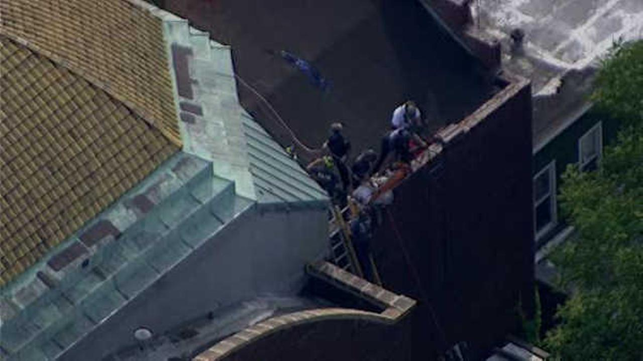 NewsCopter 7 was over the scene of a roof rescue in Jersey City.