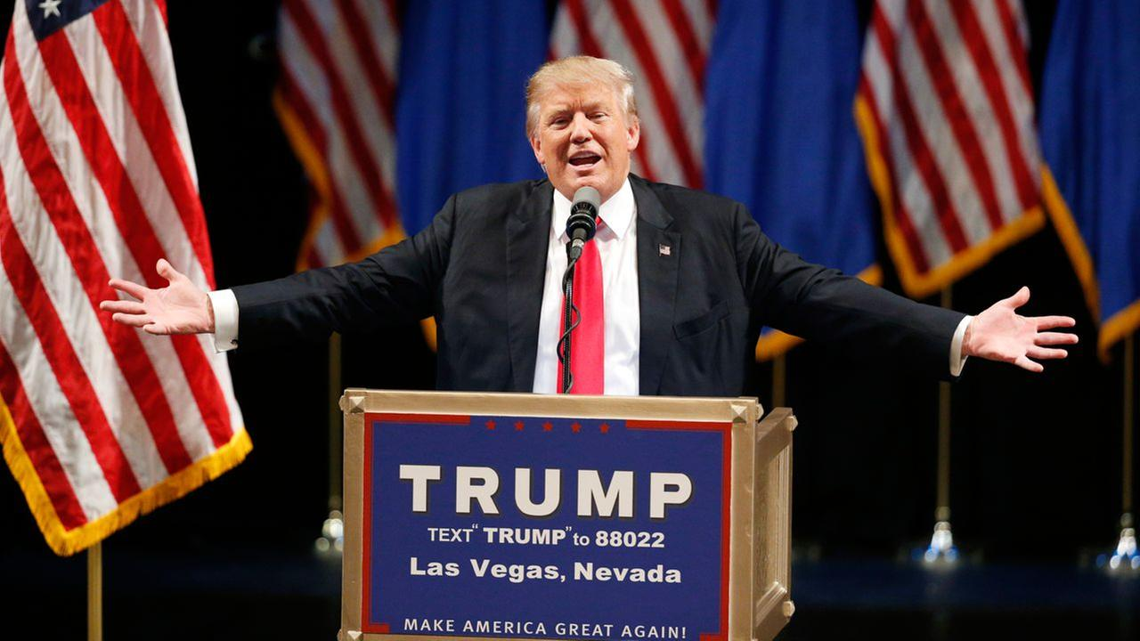 In this June 18, 2016, photo, Republican presidential candidate Donald Trump speaks at the Treasure Island hotel and casino in Las Vegas.