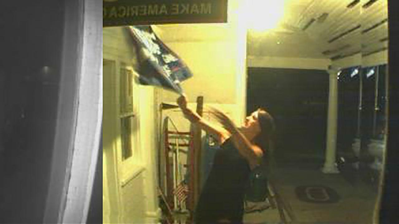Camera catches woman rip down Donald Trump flag on New Jersey porch