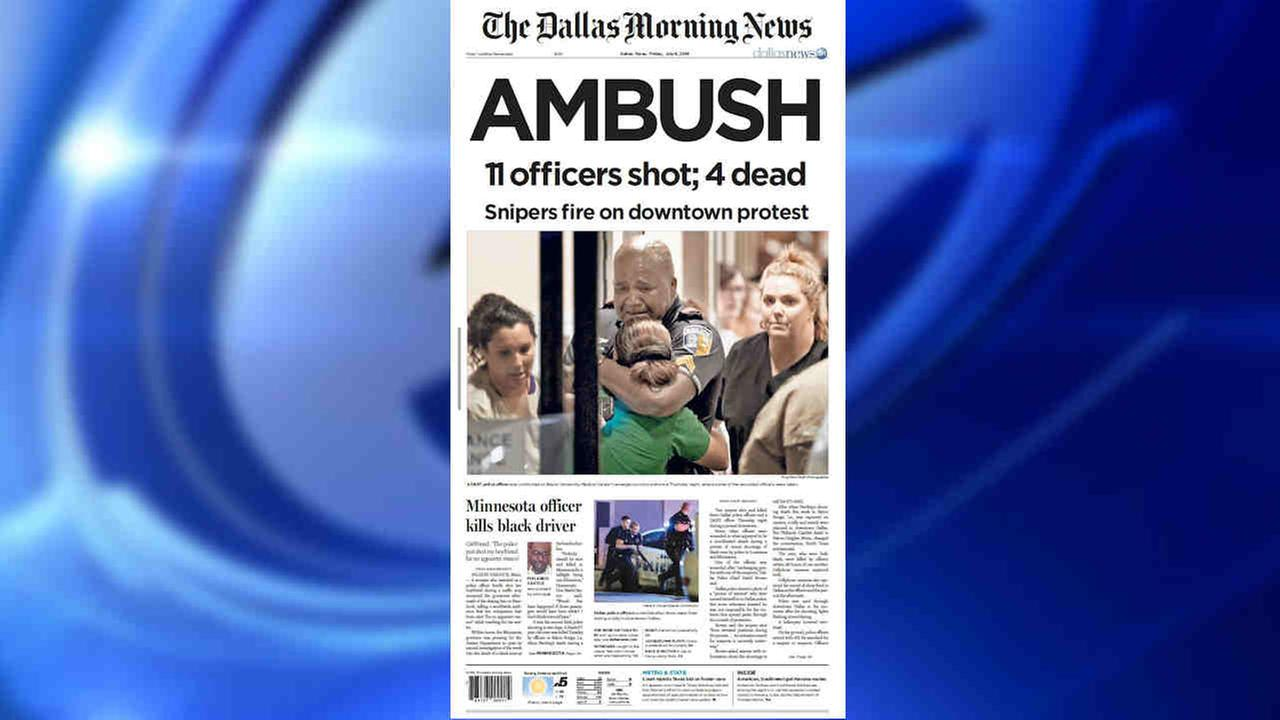 The cover of the Dallas Morning News Friday