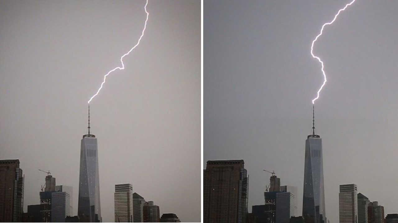 Lightning strikes spire of One World Trade twice during Monday storms
