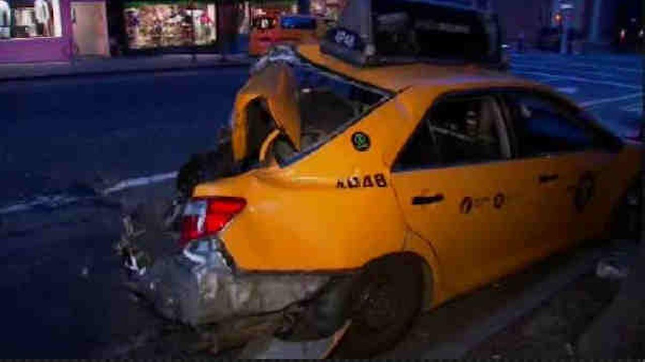 A taxi jumped a curb on the Upper East Side and crashed into a building.