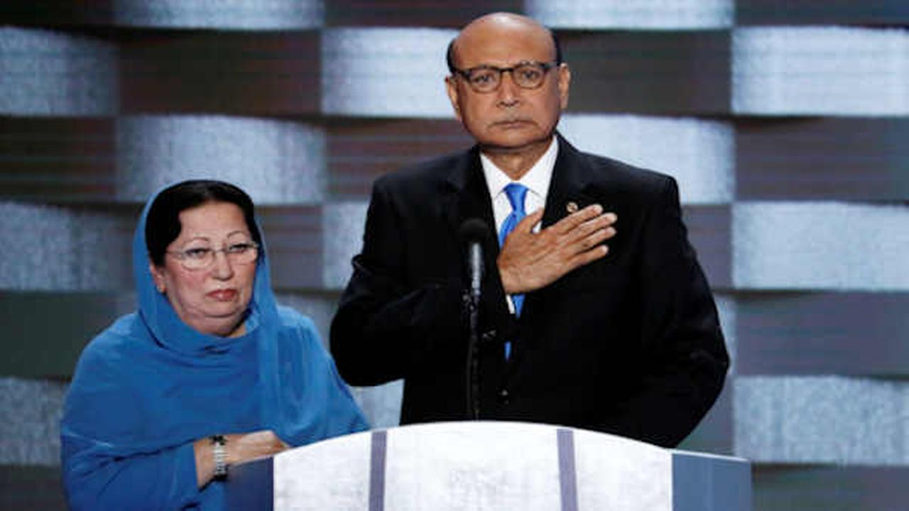 Khizr Khan, father of fallen US Army Capt. Humayun S. M. Khan and his wife Ghazala speak during the final day of the Democratic National Convention  (AP Photo/J. Scott Applewhite)