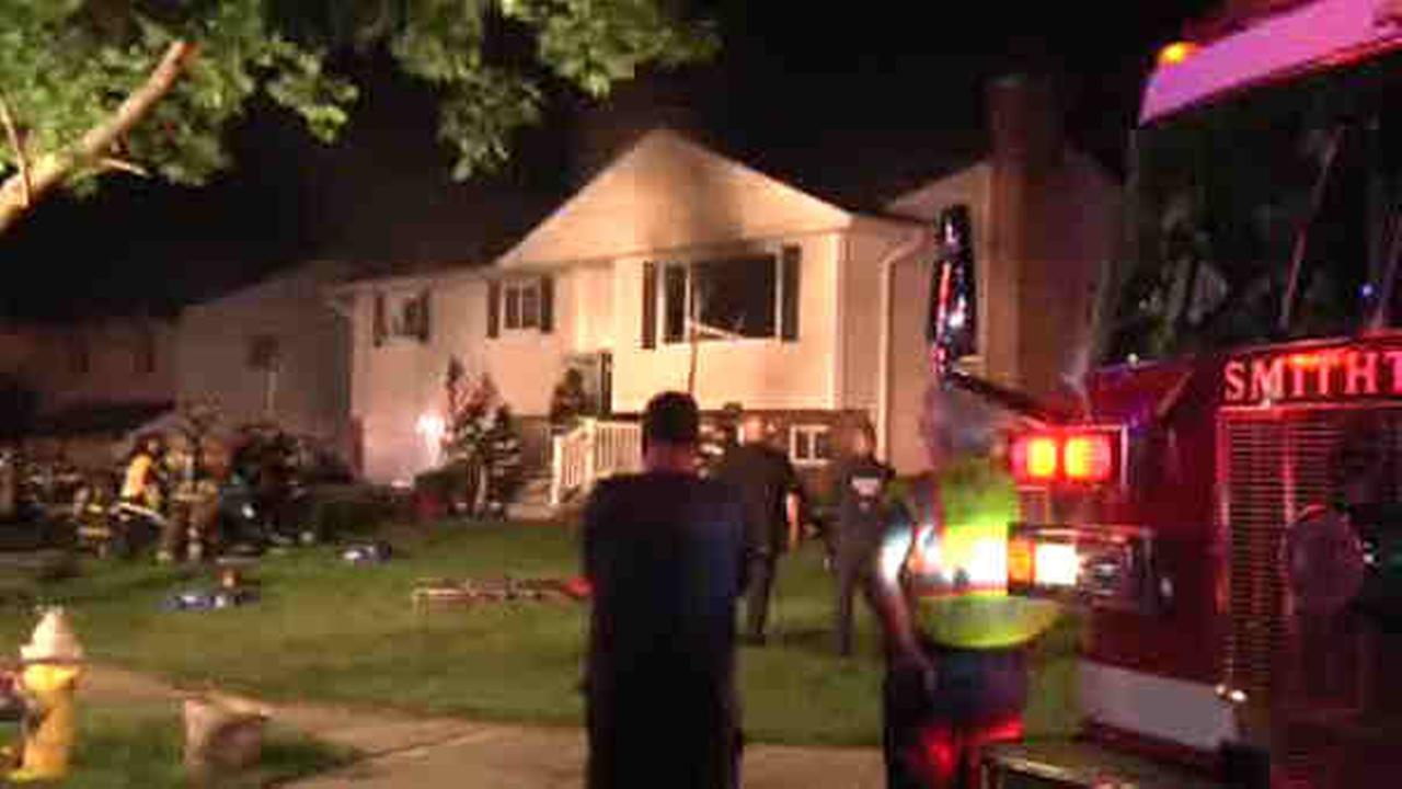 A house fire in Smithtown left three people seriously injured.