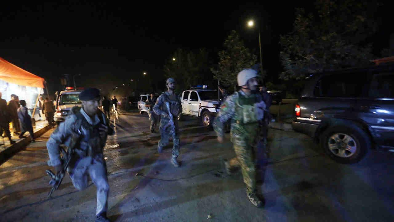 Afghan security forces rush to respond to a complex Taliban attack on the campus of the American University in the Afghan capital Kabul on Wednesday.