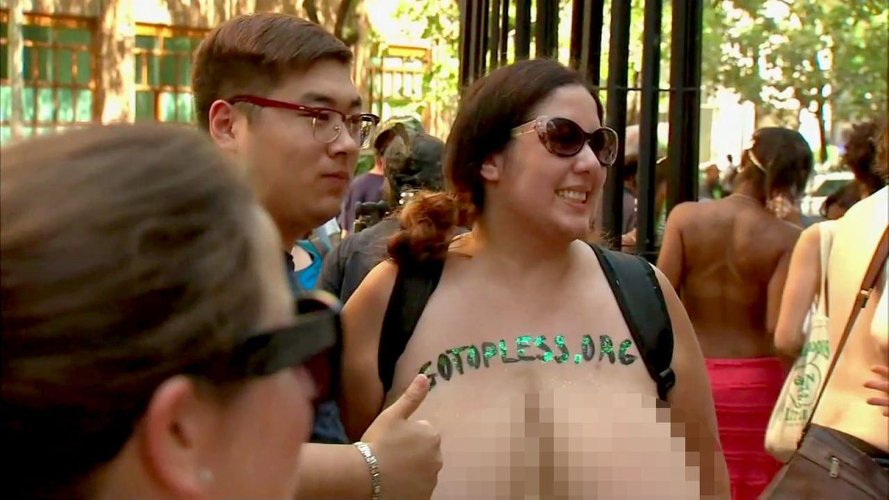 People gather for Go Topless Day in Manhattan in New York City on Sunday, Aug. 28, 2016.WABC Photo