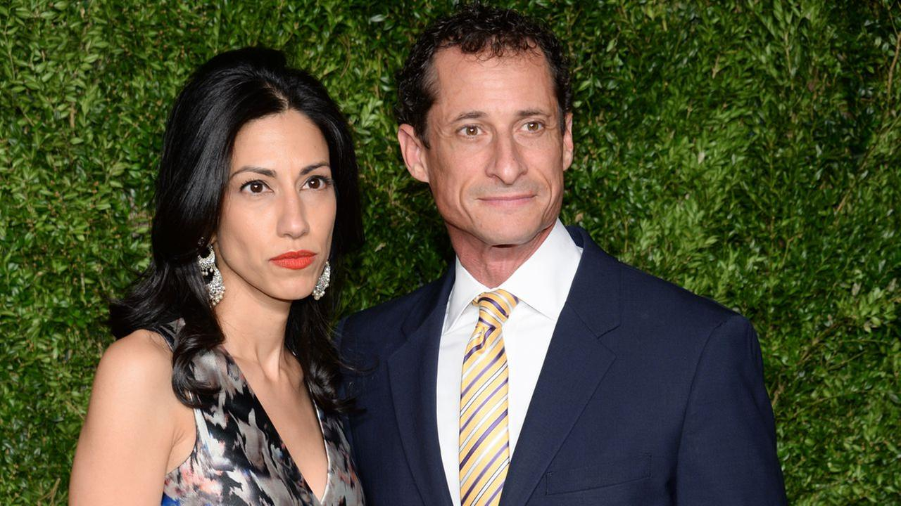 Anthony Weiner and wife Huma Abedin attend the 12th Annual CFDA/Vogue Fashion Fund Awards at Spring Studios on Monday, Nov. 2, 2015, in New York.