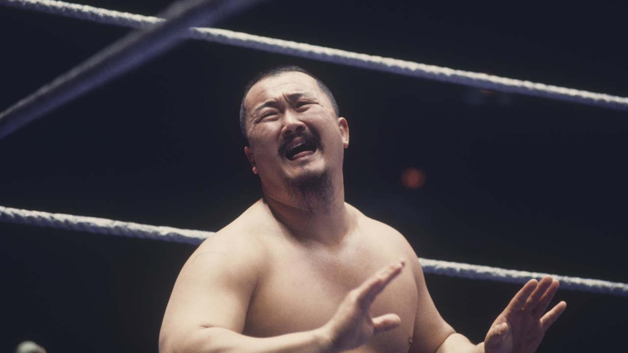 Mr. Fuji a professional wrestler screams in pain in the ring. Harry Fujiwara, known as Mr. Fuji in the ring, started his wrestling career in 1966 and ending in 1982.
